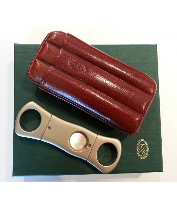 CIGAR LEATHER CASE & CUTTER CIGARS